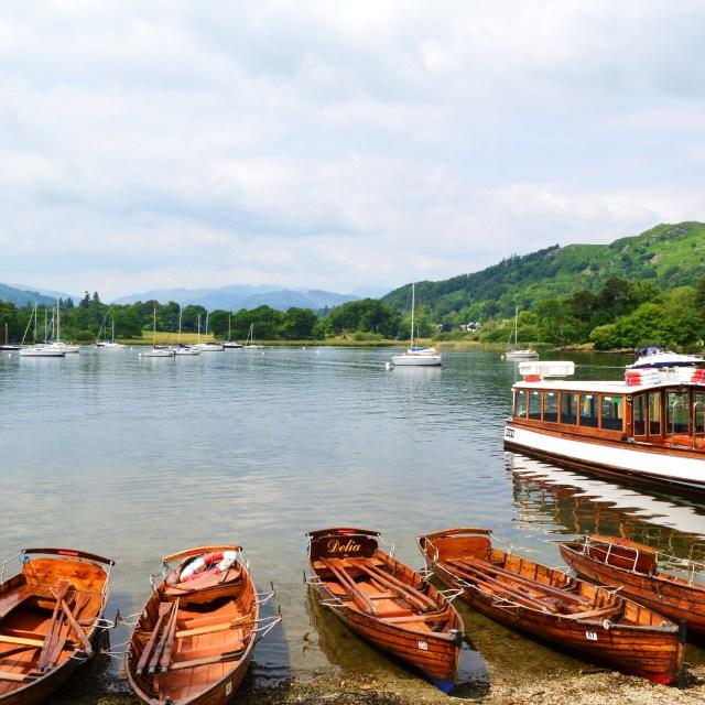 """Boats on Lake Windermere."" stock image"