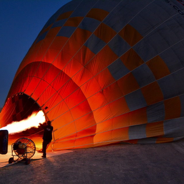 """5,45 a.m.: flight over cappadocia starts now!"" stock image"