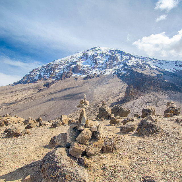 """Cairns, Kibo, Kilimanjaro National Park, Tanzania, Africa"" stock image"