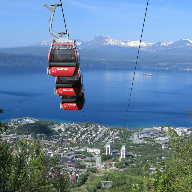"""Cable car up Fagernesfjellet mountain, Narvik, Norway"" stock image"