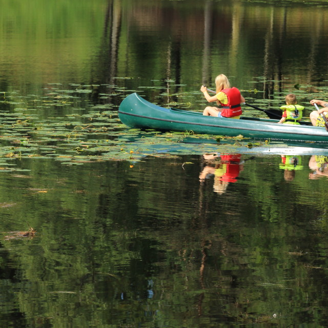 """Family on Canoeing Trip"" stock image"
