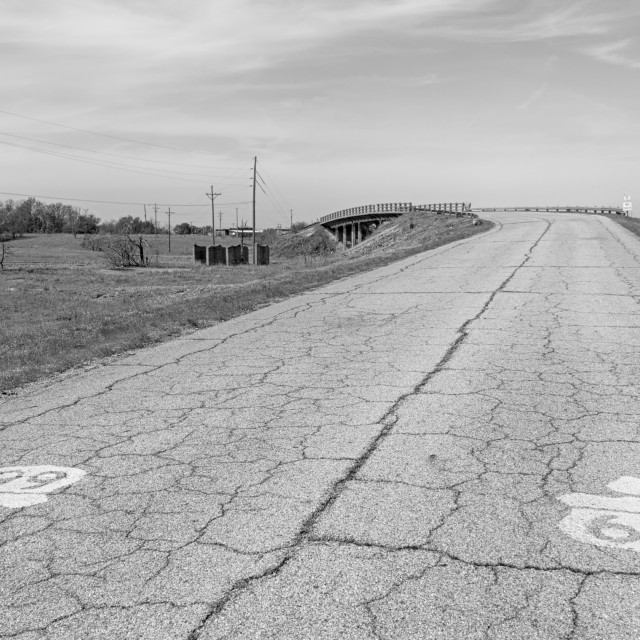 """Route 66: Front St. Bridge, Route 66 Shield, Hell's Half Acre, Galena, KS"" stock image"