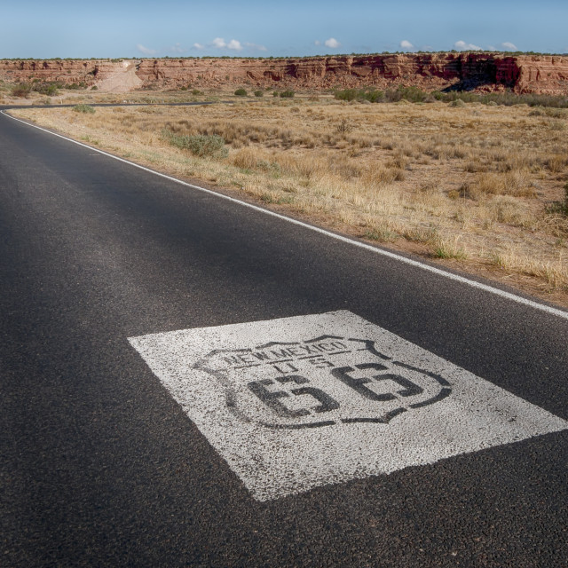 """Route 66: US 66 Shields, Owl Rock, Laguna, NM"" stock image"