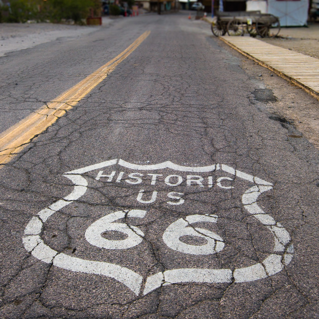 """Route 66: Road shield, Oatman, AZ"" stock image"