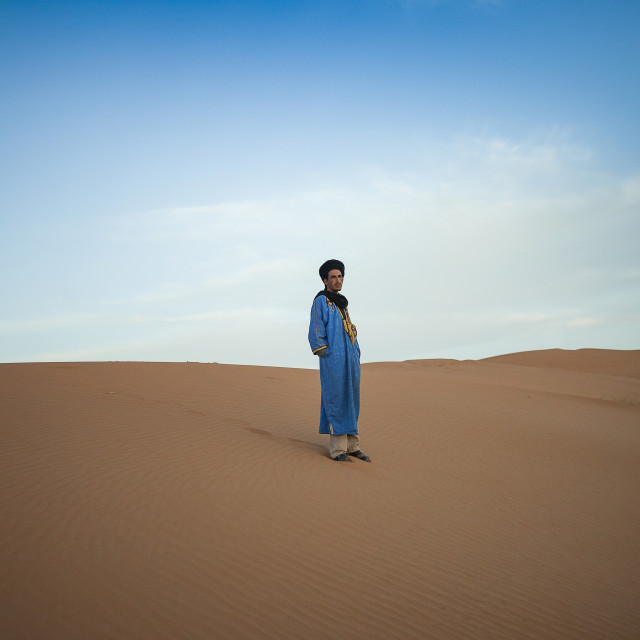 """Man in the Sahara"" stock image"
