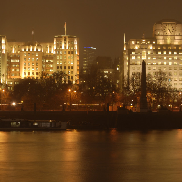 """Victoria Embankment at Night"" stock image"