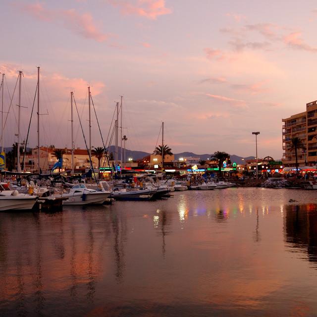 """St Cyprien at dusk"" stock image"