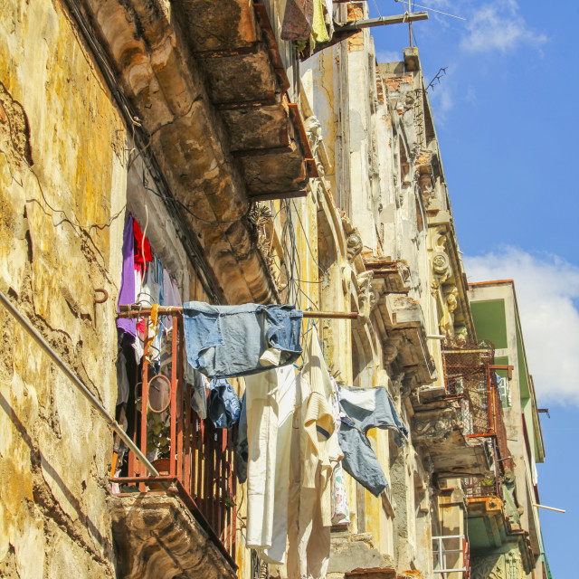 """Laundry drying in Havana"" stock image"