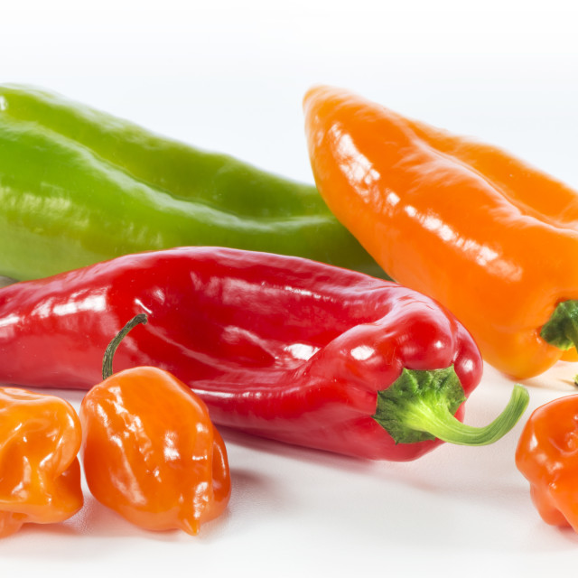 """Red, Yellow & Green Pepper with Yellow Bell Peppers"" stock image"