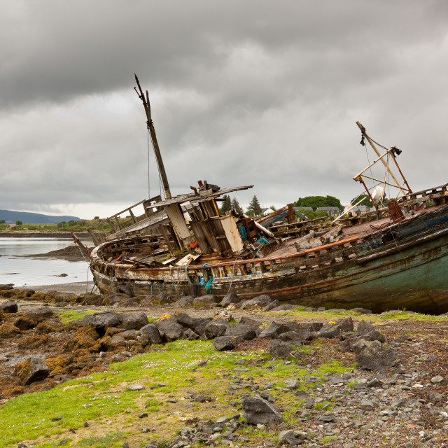 """Old Boat at Salen"" stock image"