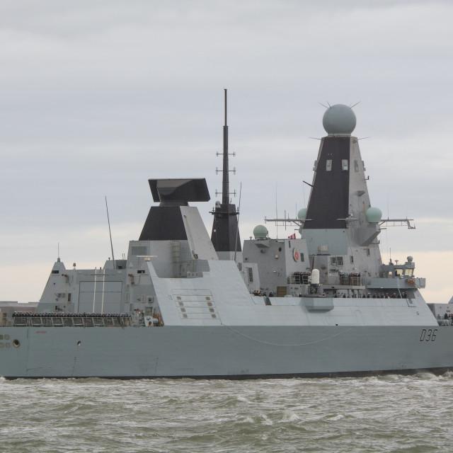 """HMS Defender Returns"" stock image"