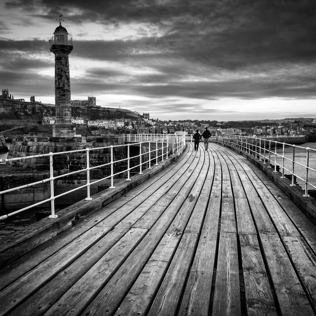 """Whitby Pier"" stock image"