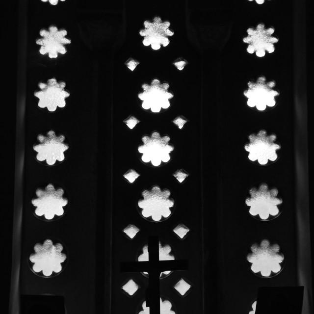 """icons in dark church interior"" stock image"
