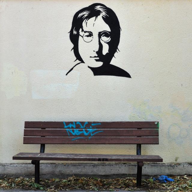 """""""john lennon graffiti"""" stock image"""