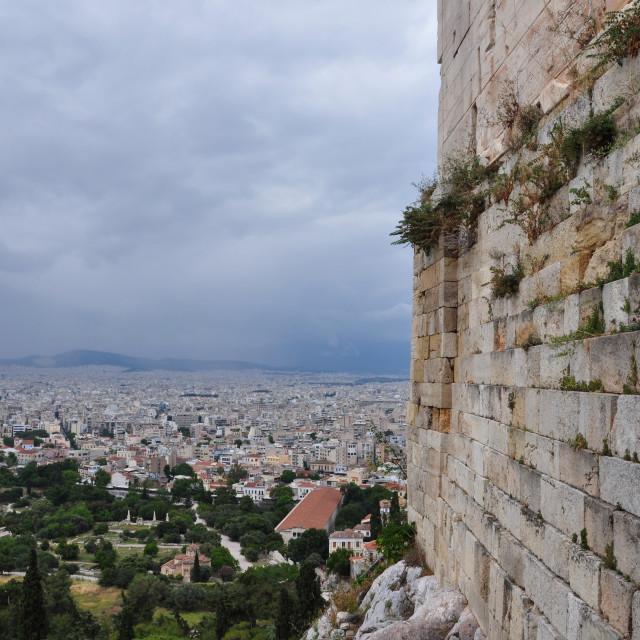 """acropolis wall city of athens"" stock image"