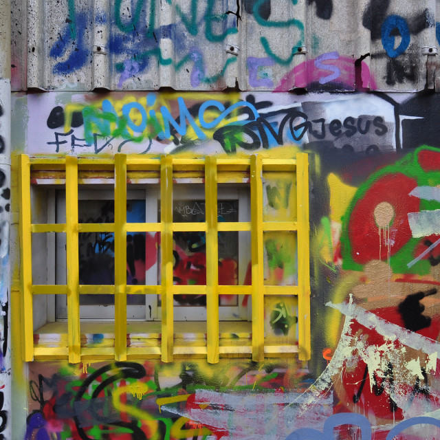 """""""barred window messy graffiti"""" stock image"""