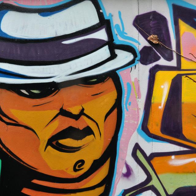 """man with fedora hat graffiti"" stock image"