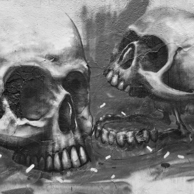 """skulls abstract graffiti"" stock image"