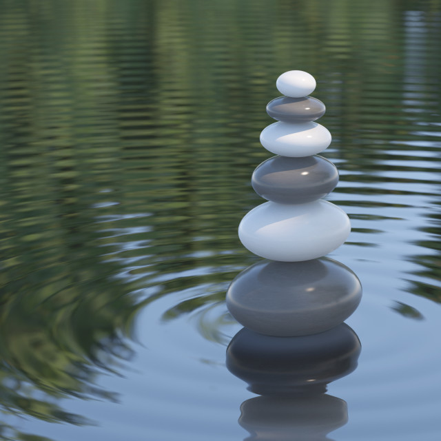 """Dark and white Zen stones in a lake"" stock image"