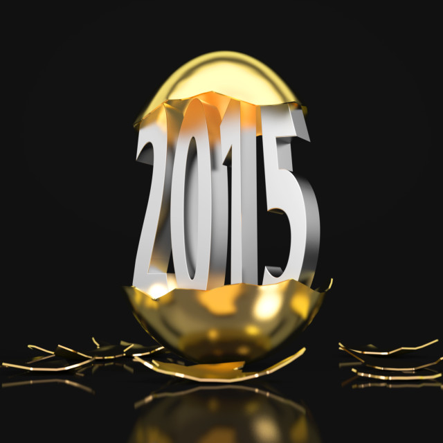 """2015 hatches out of an golden egg"" stock image"