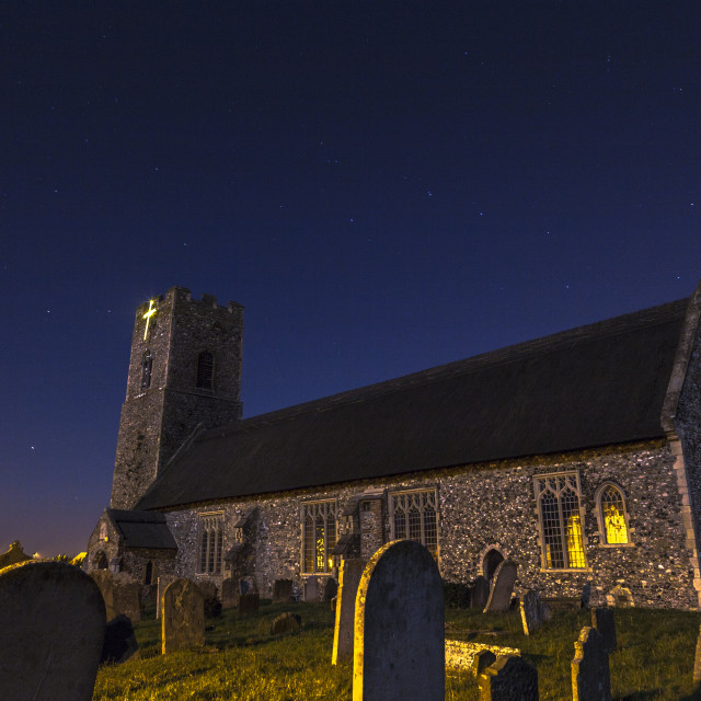 """Moonlit Church"" stock image"