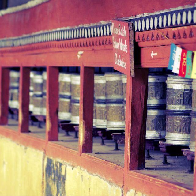 """Prayer Wheels at a Monastery"" stock image"
