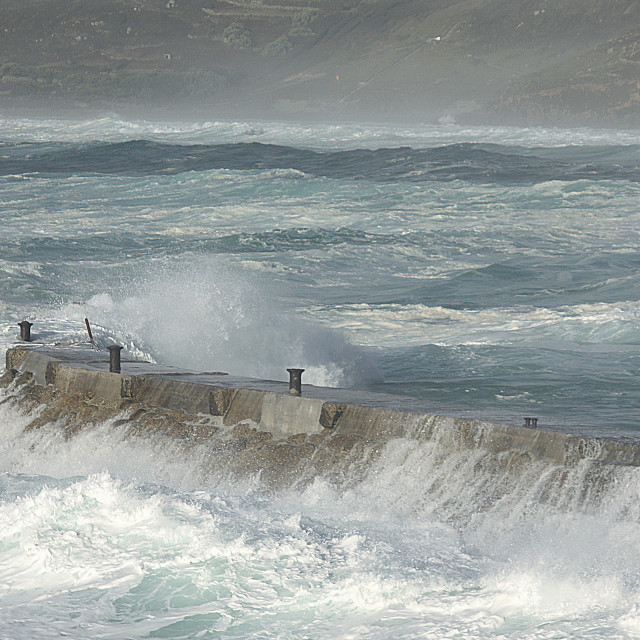 """Storm At Sennen Cove"" stock image"