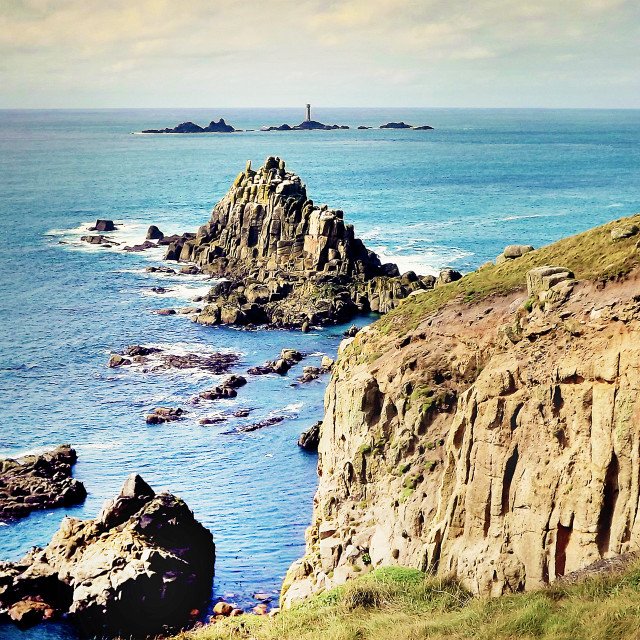 """Lands End And The Longships Lighthouse"" stock image"