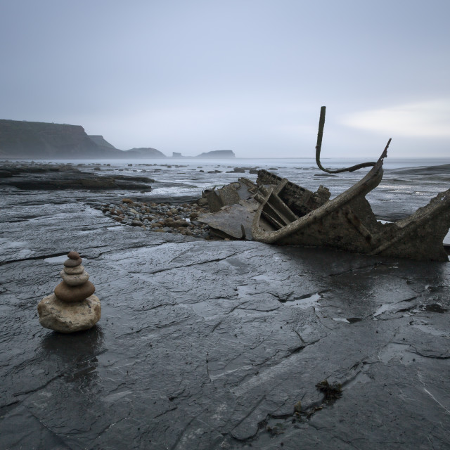 """Stone Pile and the wreck - Saltwick Bay"" stock image"