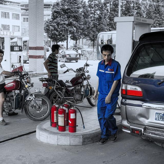 """Pump attendant"" stock image"