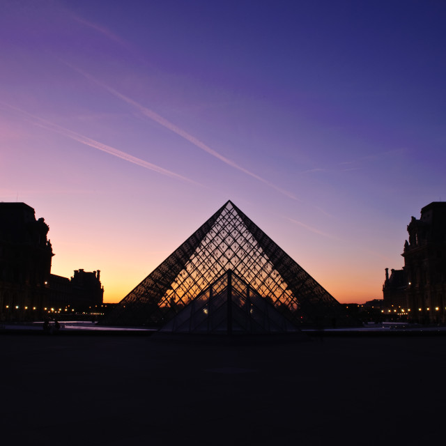 """Sunset over Musée du Louvre"" stock image"