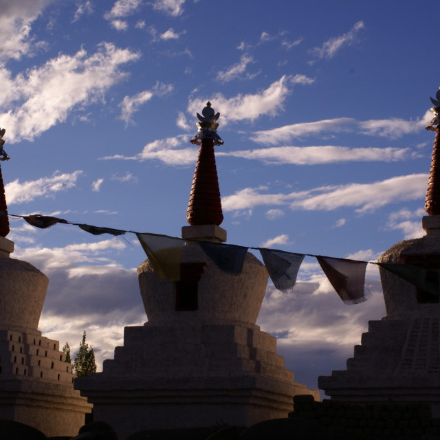 """""""Stupas in the Sunset"""" stock image"""