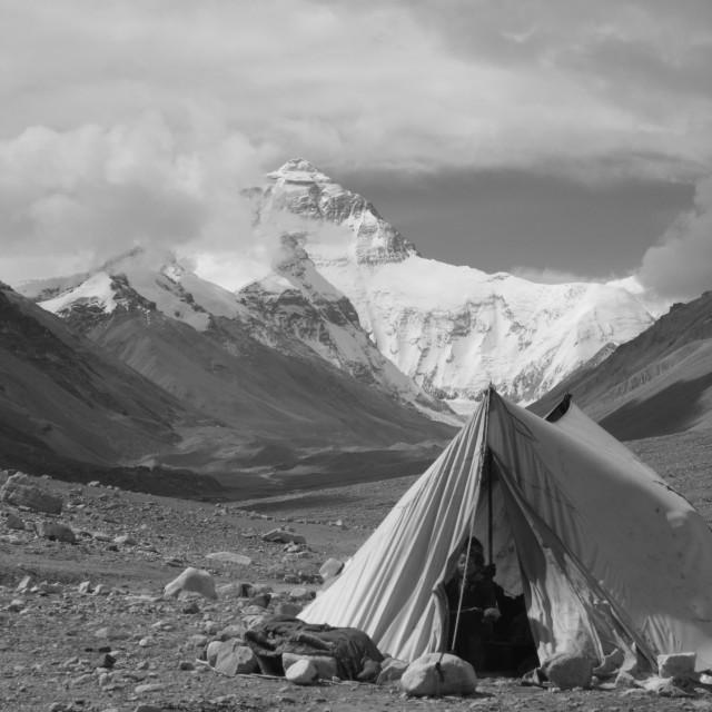 """Tibetan Mount Everest Family - Tibet"" stock image"