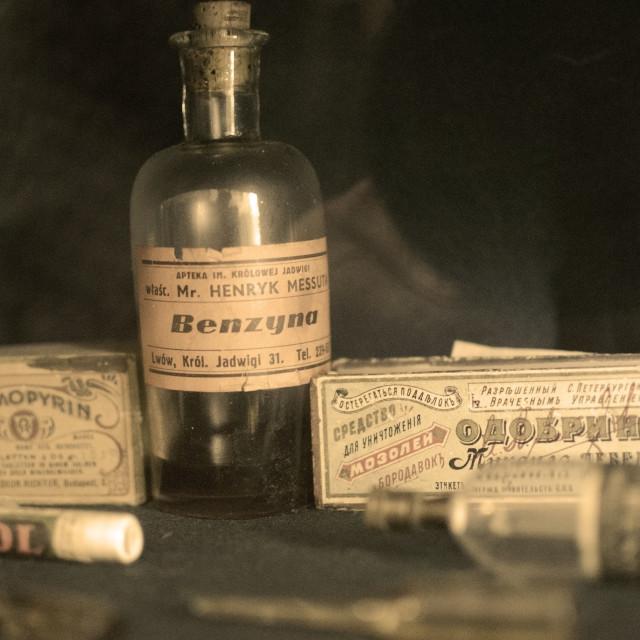 """""""Vintage pharmacy shelf"""" stock image"""