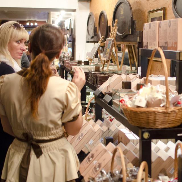 """Chocolate Shop in Lviv, Ukraine"" stock image"