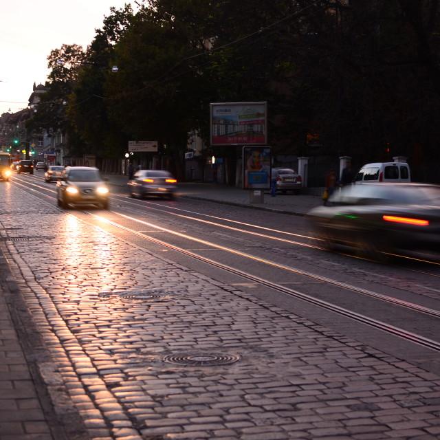 """Traffic in Lviv, Ukraine"" stock image"