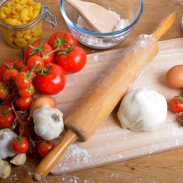 """""""pizza dough and ingredients"""" stock image"""