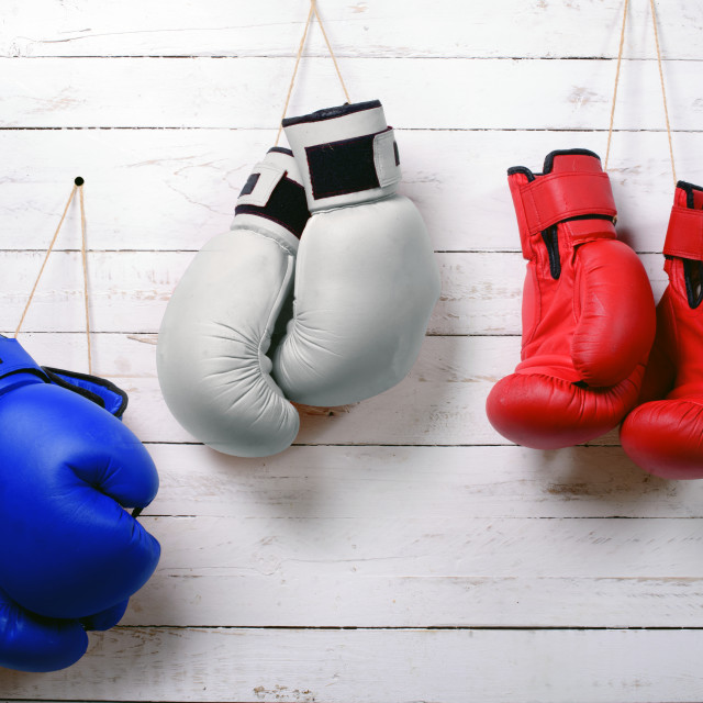 """""""boxing gloves blue, white and red wall hung"""" stock image"""