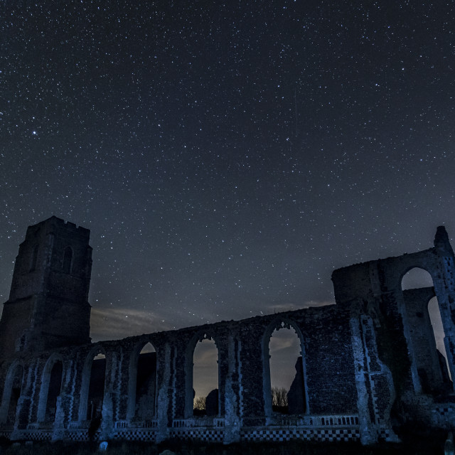 """Shooting Star Over Church Ruin"" stock image"