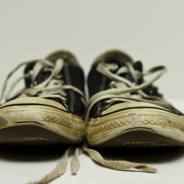 """Old Worn Sneakers"" stock image"