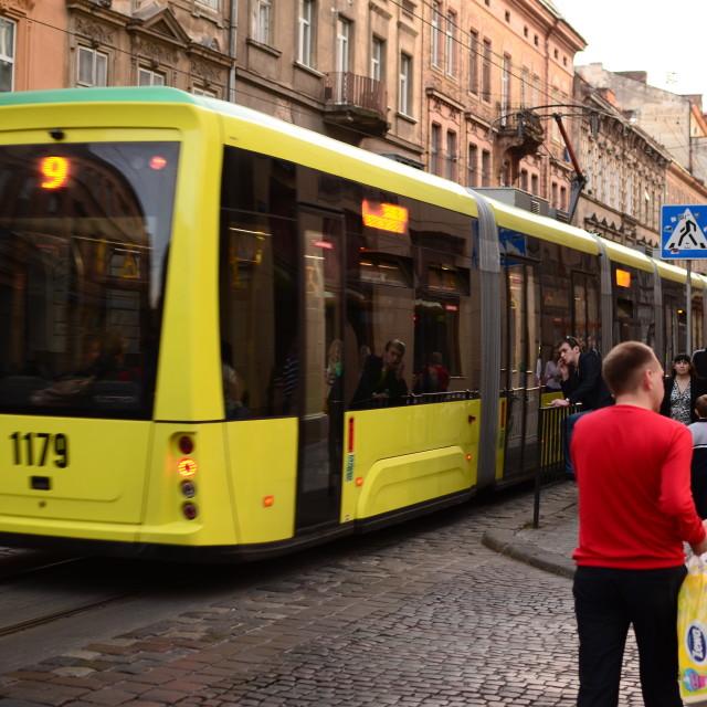 """""""Tram in Lviv"""" stock image"""