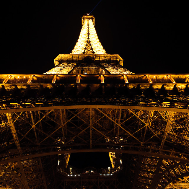 """Eiffel Tower - Straight-up at Night"" stock image"