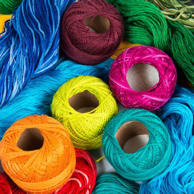 """several color spools of thread for embroidery"" stock image"