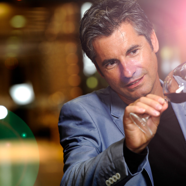 """""""Winegrower in wine-cellar holding glass of wine"""" stock image"""
