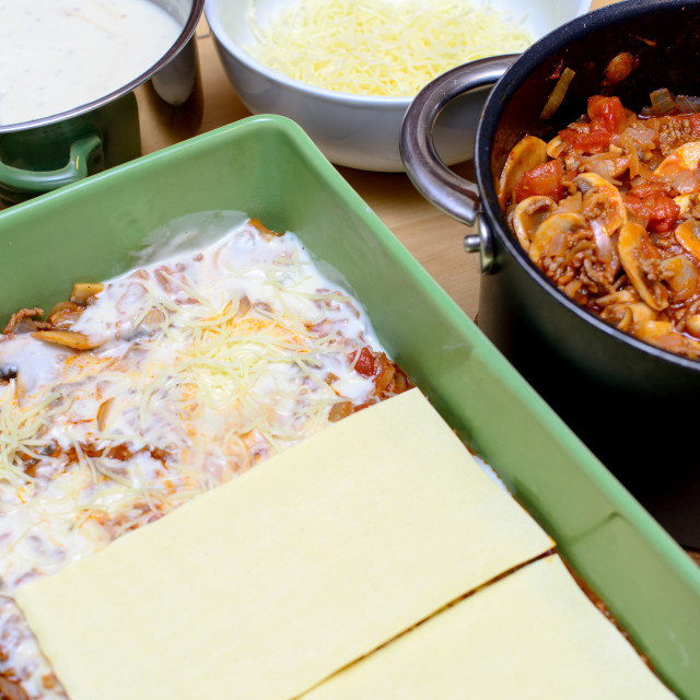 """preparation of lasagna"" stock image"