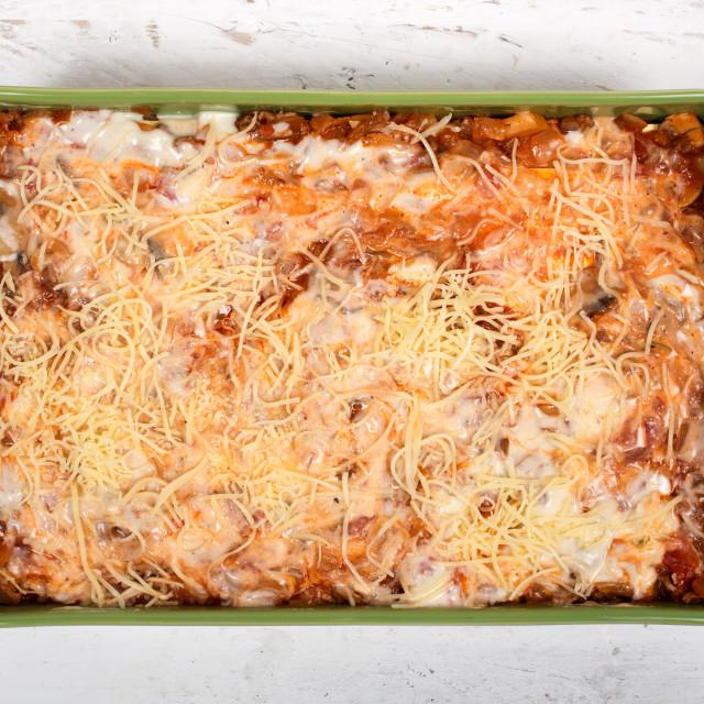 """preparation of lasagna in a green dish"" stock image"