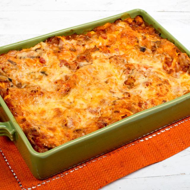 """""""lasagna in a green dish"""" stock image"""