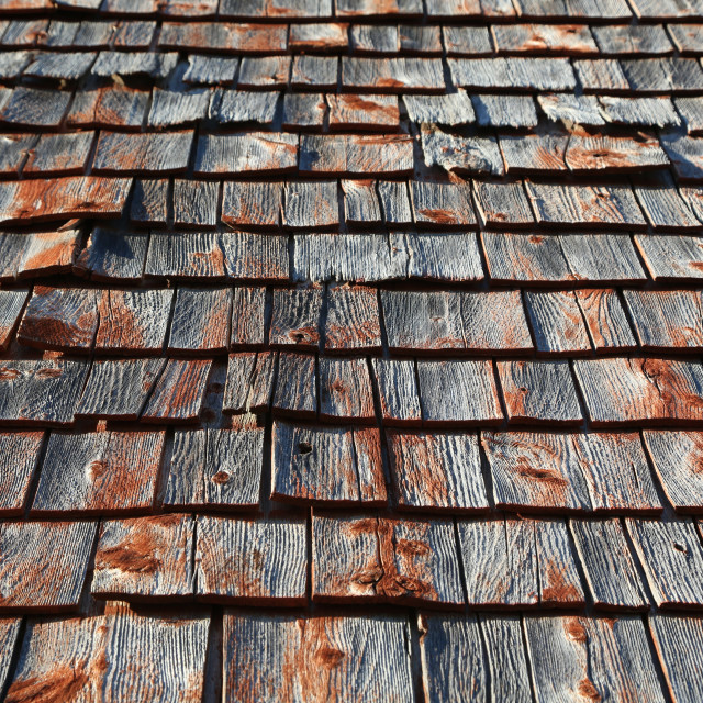 """Weathered Cedar shingles"" stock image"