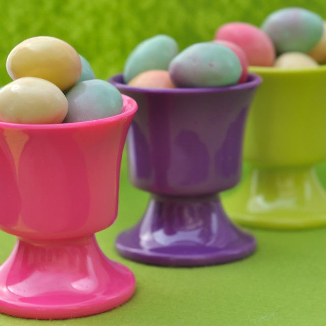 """easter eggs in eggcups"" stock image"