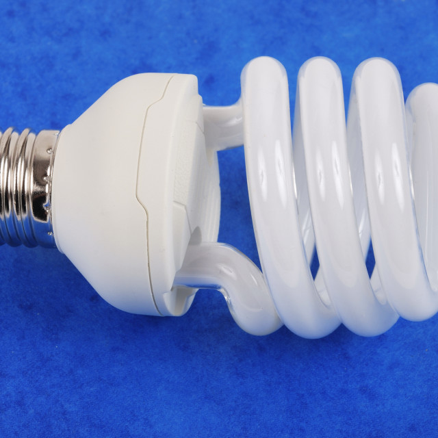 """A compact fluorescent light bulb"" stock image"